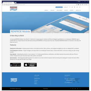 RENFROE Mobile App Corporate Site Page
